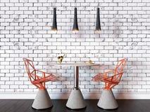 3D咖啡馆桌和椅子的例证反对砖wa的 向量例证