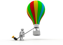 3d商人和气球 免版税库存照片