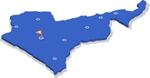3d喀麦隆的等轴测图地图有蓝色表面和城市的 库存照片