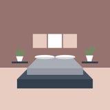 3d四周被回报的卧室内部闪电 图形设计的对象 库存例证