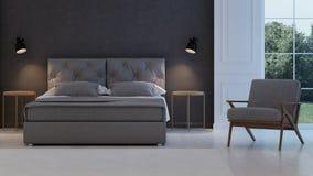 3d四周被回报的卧室内部闪电 经典现代 免版税图库摄影