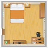 3d四周被回报的卧室内部闪电 免版税库存照片