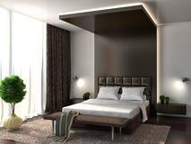 3d四周被回报的卧室内部闪电 browne 3d例证 库存例证