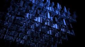 3D回报三维蓝色数字矩阵城市 向量例证