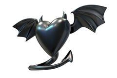 3D回报与恶魔翼的黑乳汁心形 库存例证