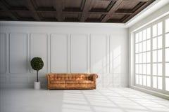 3d回报与白色墙壁和木天花板的美好的内部 库存例证