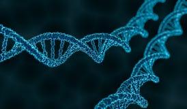 3D回报了双重螺旋脱氧核糖核酸分子的例证 免版税库存照片