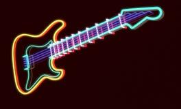 3d回报了吉他作为霓虹灯 库存图片