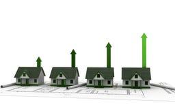 3d回报了房子和箭头图表 在白色背景隔绝的不动产的成长 向量例证