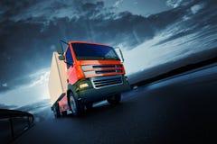 3d回报了桔子半卡车的例证在柏油路的 免版税图库摄影