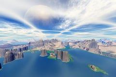 3d回报了幻想外籍人行星 免版税库存图片