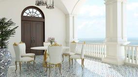 3d回报从想象经典豪华阳台海视图意大利地中海用餐 免版税库存照片