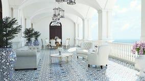 3d回报从想象经典豪华阳台海视图意大利地中海用餐 库存图片