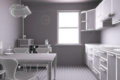 3D回报厨房 库存图片