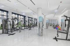 3d回报在一个大,长的大厦的一个健身中心 库存照片