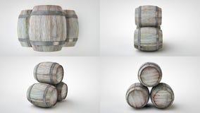 3d回报在四投射的啤酒桶 免版税库存图片