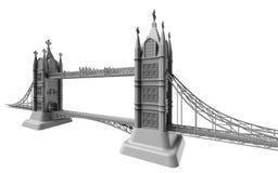 3D回报在白色背景的英国桥梁 库存图片