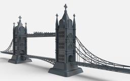 3D回报在白色背景的英国桥梁 免版税库存图片