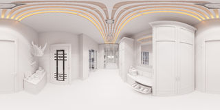 3d回报在经典样式的大厅室内设计 免版税库存图片