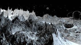 3d回报宇宙风景作为背景或环境 从空间视图的行星从航天器非常详述了 皇族释放例证