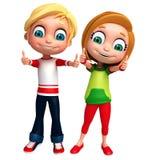 3D回报小男孩,并且有thums的女孩摆在 免版税库存照片