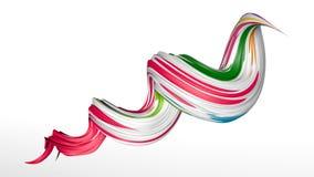 3d回报摘要五颜六色的螺旋刷子冲程 免版税图库摄影