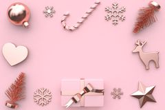 3d回报摘要桃红色金属光滑玫瑰金丝带礼物盒雪树装饰 免版税库存照片