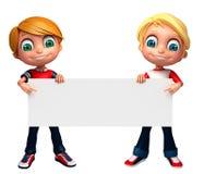 3D回报有白板的小男孩 免版税库存照片