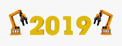 3d回报机器人新年快乐胳膊和技术2019年 向量例证