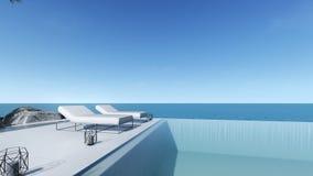 3d回报水池大阳台海视图放松室外水池床 向量例证