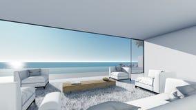 3d回报水池大阳台海视图放松左看法客厅 库存例证