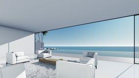 3d回报水池大阳台海视图放松正确的看法客厅 皇族释放例证