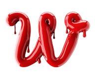 3D回报红色字母表由指甲油做 手写的草写字体W 查出在白色 免版税库存照片