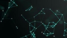 3D回报结节背景 技术和连接题材 明亮的小点用天蓝色的蓝线连接 有效地 向量例证