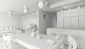 3d回报美好的白色内部室,斯堪的纳维亚样式的图象 向量例证