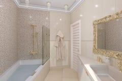 3d回报豪华在一个经典样式的卫生间室内设计 免版税库存图片