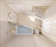 3d回报豪华在顶视图的卫生间室内设计 库存照片