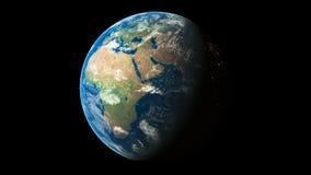 3d回报转动无缝的圈动画的世界显示行星地球 股票录像