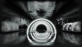 3d回报,发光的线,隧道,霓虹灯,虚拟现实,抽象背景,正方形门户,曲拱,黑白充满活力 皇族释放例证