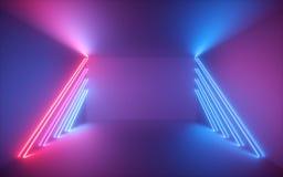 3d回报,变粉红色蓝色霓虹线,被阐明的空的室,真正空间,紫外光,20世纪80年代减速火箭的样式,时装阶段 免版税图库摄影