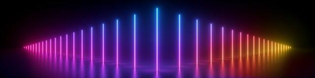 3d回报,抽象全景背景,发光的垂直线,霓虹灯,紫外光谱,虚拟现实,激光展示 向量例证