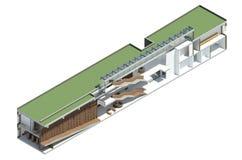 3D回报:图书馆的模型 免版税库存照片