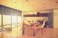 3d回报-现代厨房内部与饭厅-顶楼-关于 免版税库存照片