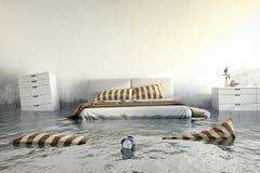 3d回报-水damager -卧室 免版税库存图片
