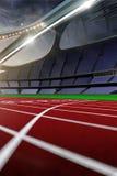 3d回报emptry高科技体育场晚上,无需人跑 免版税库存照片