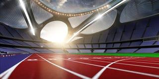 3d回报emptry高科技体育场晚上,无需人跑 免版税图库摄影