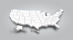 3D团结的国家地图的美国 库存例证