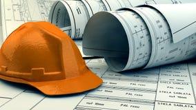 3d图纸、房子模型和建筑器材的例证 免版税库存照片