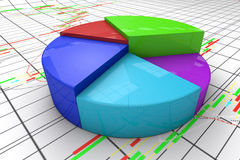 3d图表五颜六色的图形高饼回报解决方法 库存图片