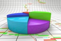 3d图表五颜六色的图形高饼回报解决方法 免版税库存图片